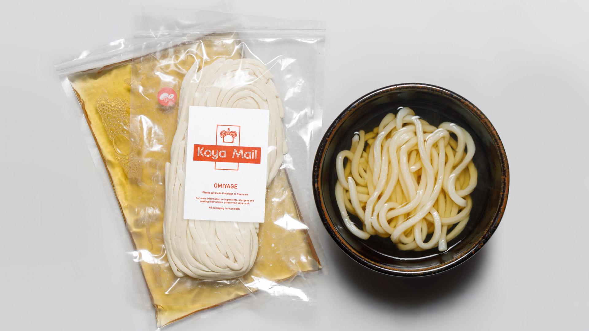 A photo of Koya's 'Koya Mail' dashi and udon noodle 'Omiyage' delivery box