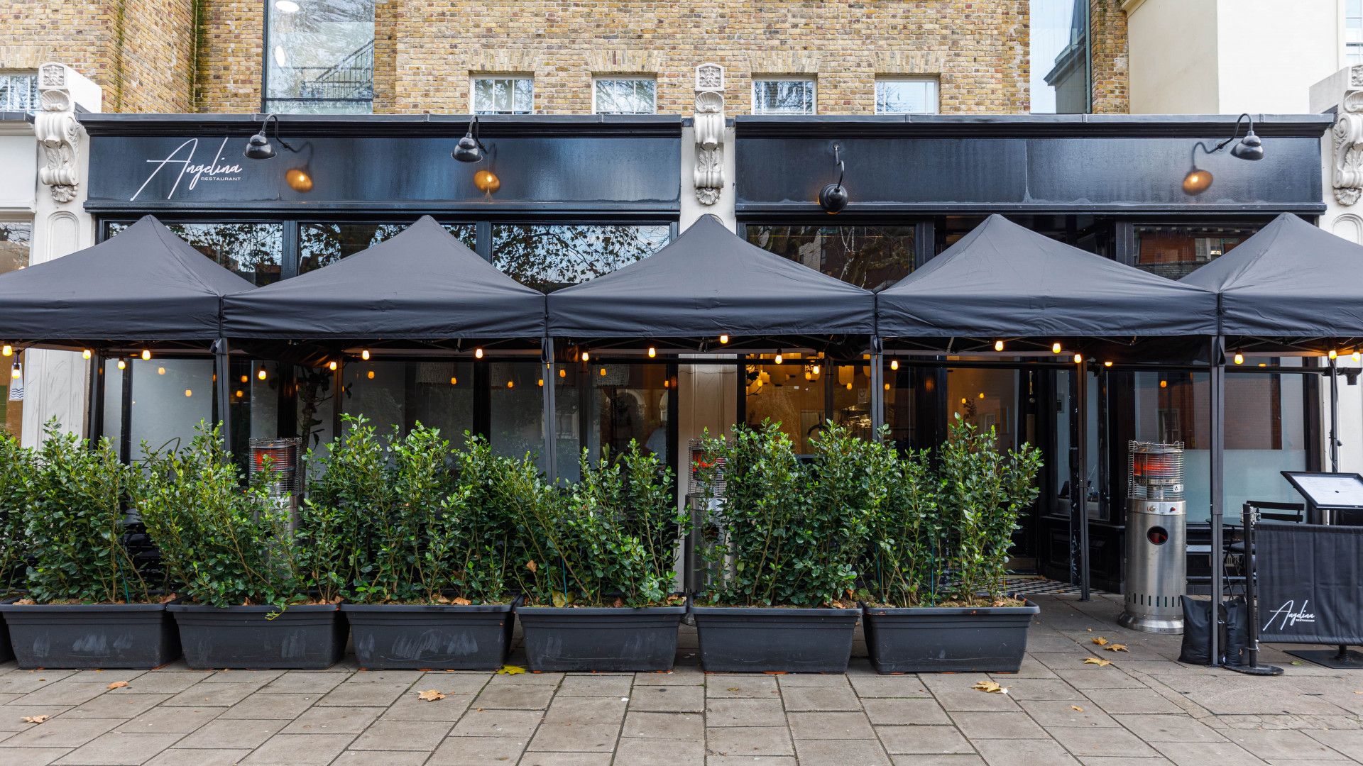 This is an image of the outdoor seating at Angelina in Dalston, London.