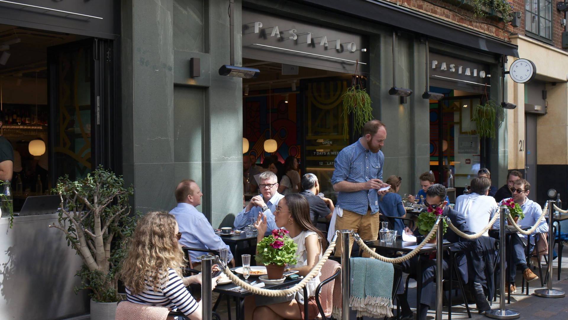 This is an image of the outdoor terrace at Pastaio in Soho, London.