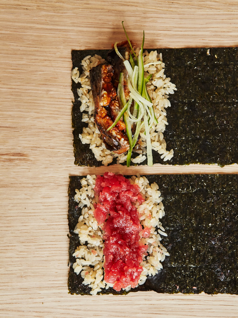 This is a photo of two sushi hand rolls at TEMAKI, Brixton.