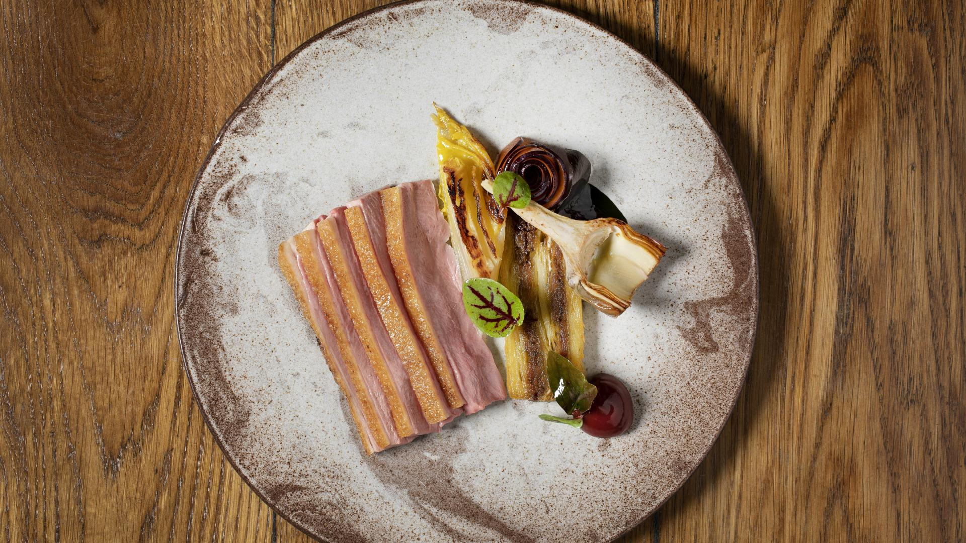 This is an image of the salt-aged duck dish at The Princess of Shoreditch