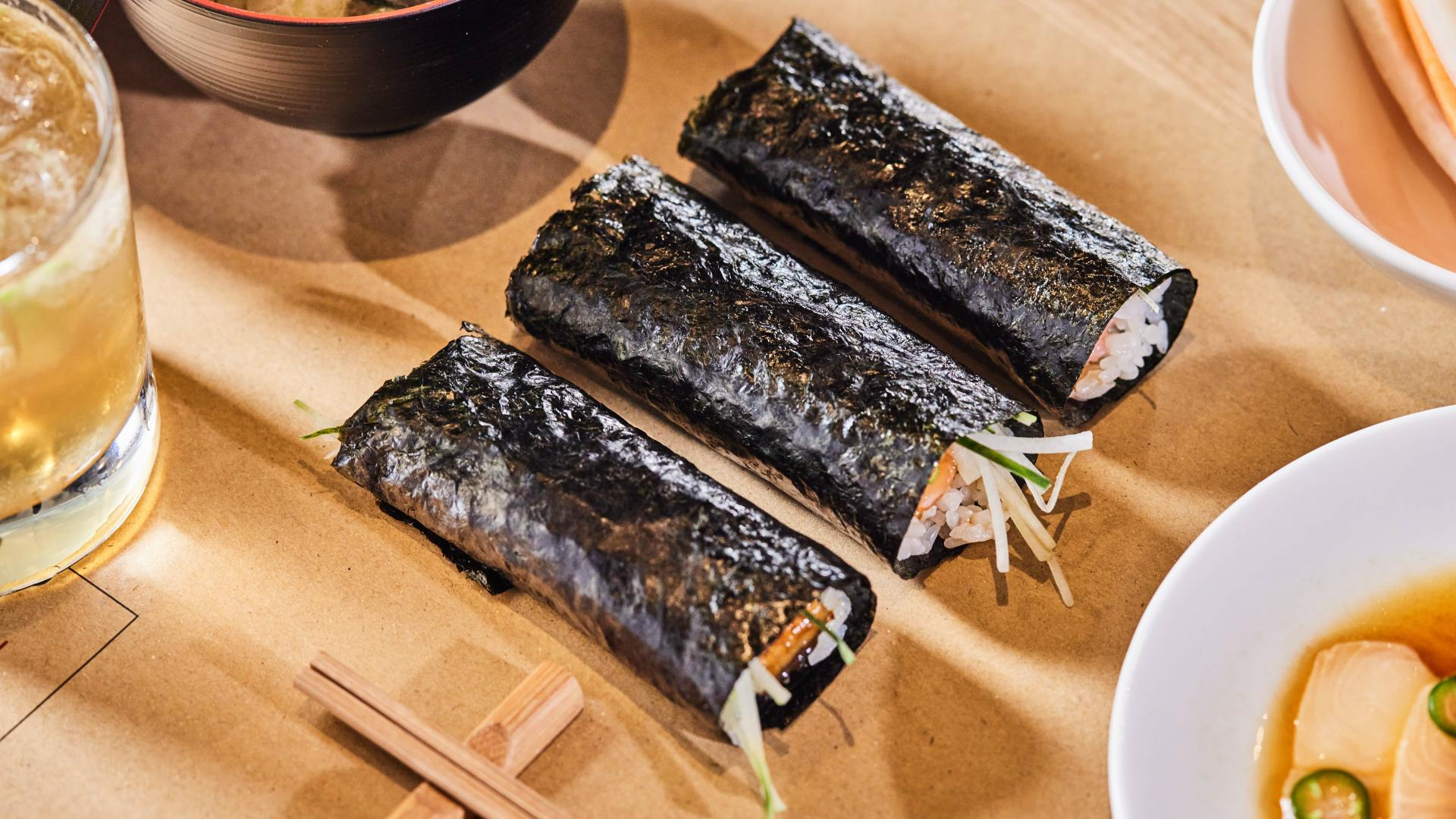 This is a photo of three temaki sushi handrolls from TEMAKI, Brixton Village.