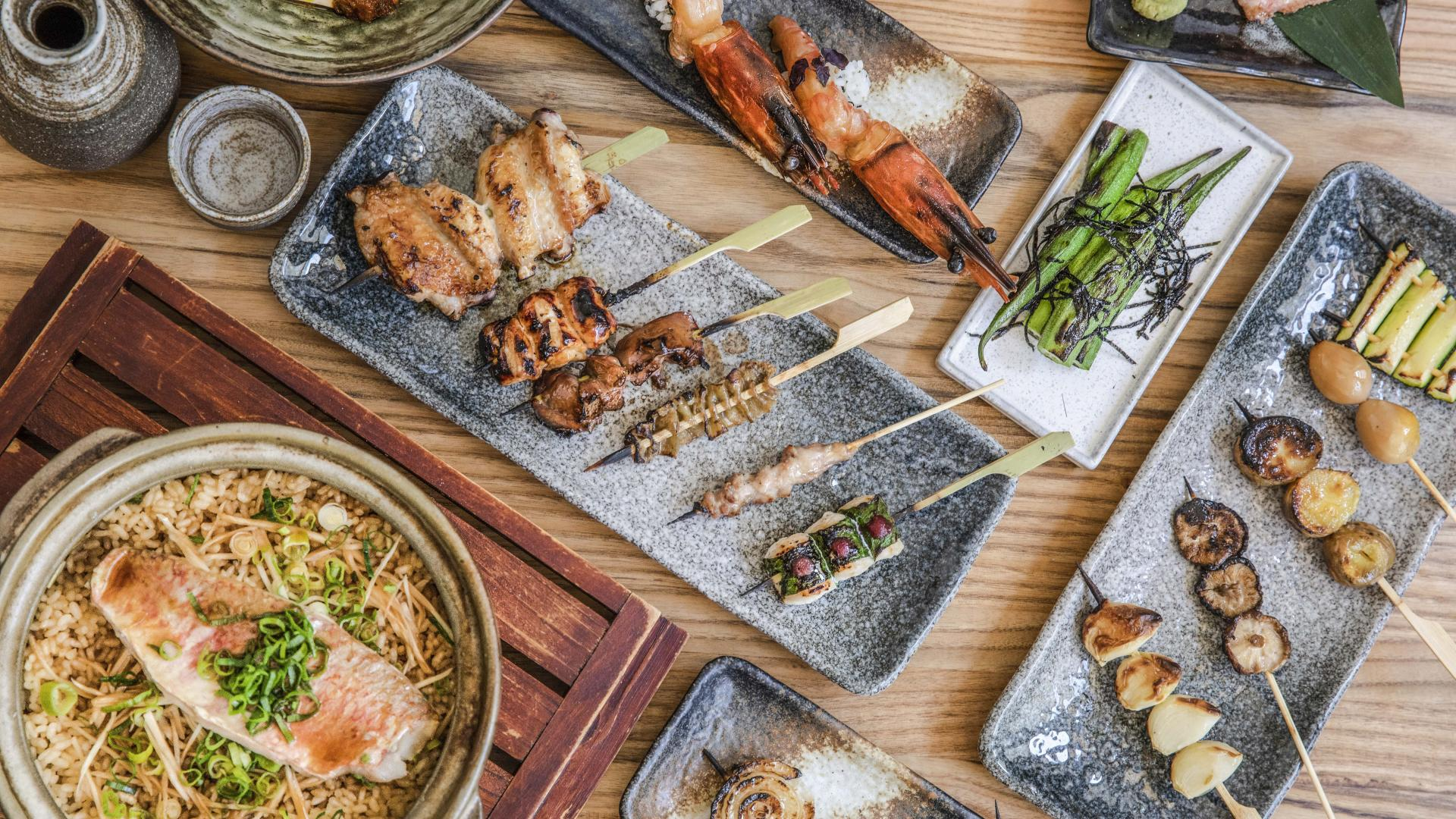 This is a photo of yakitori skewers and small plates from Junsei, Marylebone.