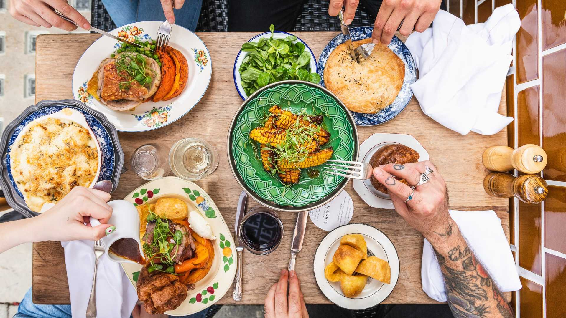 This is a photo of The Laundry's roast dinner in Brixton.