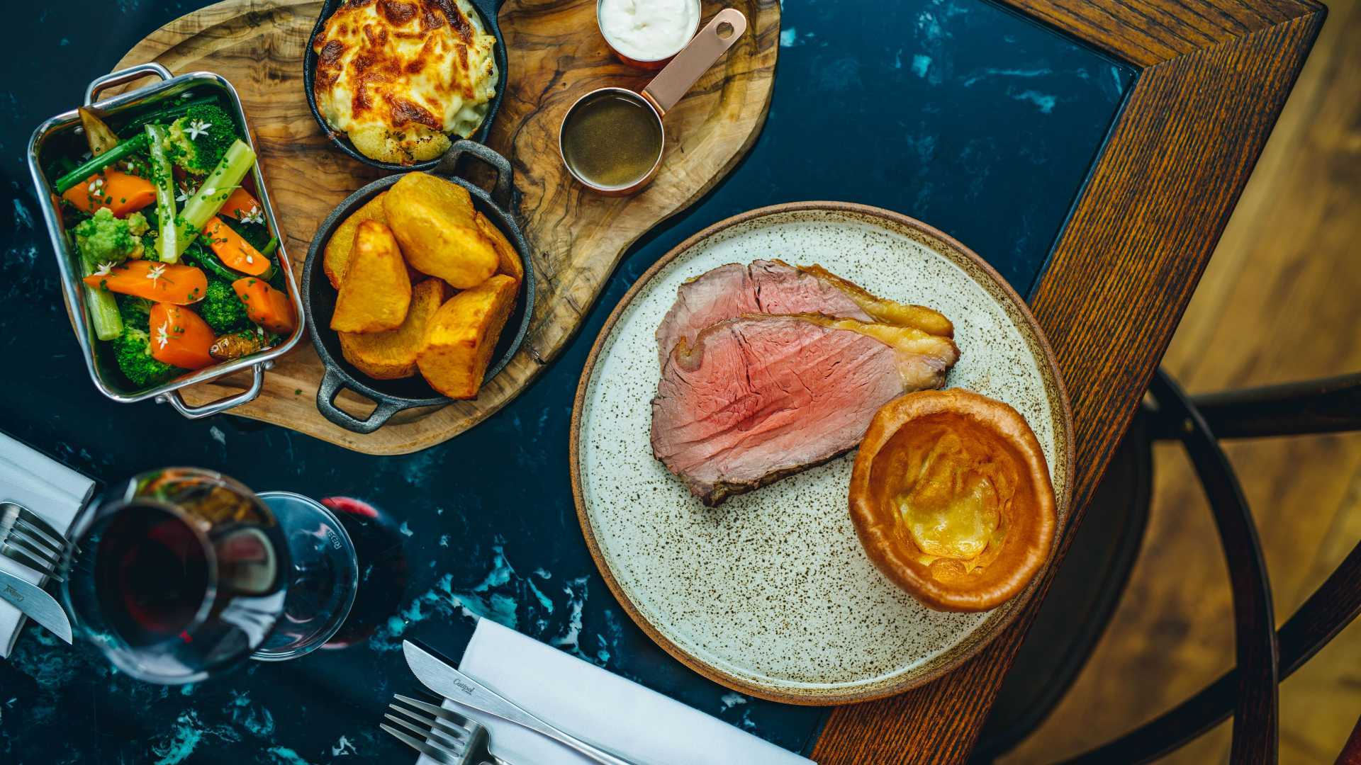This is a photo of the Princess of Shoreditch's roast dinner of roast beef and sides.